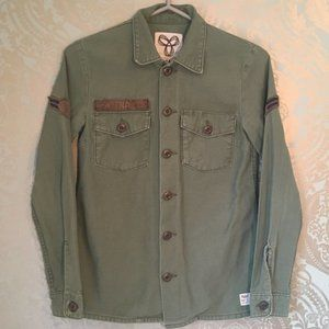 Aritiza TNA Military Army Shacket Button Up Green